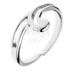 925 ezüst gyűrű - hullám alakú kiugró, kettős vonal, állítható méret