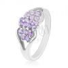 Ezüst színű gyűrű, szétválasztott szárak, színes cirkóniák