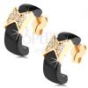 Fülbevaló 9K sárga aranyból - fekete kerámia félkör, csillogó masni