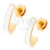 Fülbevaló 14K sárga aranyból - fényes szabálytalan ív, fehér fénymáz