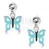 925 ezüst fülbevaló, világoskék pillangó kivágásokkal a szárnyain, kristály