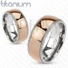 Rózsaszín-arany titánium gyűrű - bordázott szegély