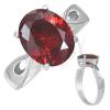 Gyűrű nemesacélból - piros holdkő Január , könnycsepp kivágások