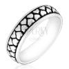 Gyűrű ezüstből - két sor szembefordított szívecske, antikolt