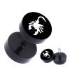 Fekete acél fake fül piercing skorpió motívummal