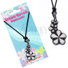 Fekete nyakék zsinórral - medál, három virág