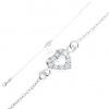 925 ezüst karkötő, enyhe lánc, cirkóniás szívkörvonal, állítható