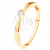 Gyűrű 14K sárga aranyból - lekerekített szárak, kerek átlátszó cirkónia