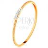 14K sárga arany gyűrű - vékony díszes szár, három átlátszó cirkónia