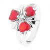 Acél gyűrű, csillogó virág piros szív alakú cirkóniákkal
