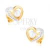 Ródiumozott 375 arany fülbevaló - kétszínű szív körvonal, fehér gyöngy