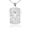 Nyaklánc - lánc és téglalap alakú tábla, Fleur de Lis, 925 ezüst