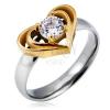 Ezüstös gyűrű acélból arany színű dupla szívvel, tiszta cirkónia