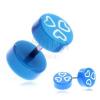 Fake piercing a fülbe akrilból - kék fejek és fehér szívek