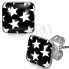 Acél fülbevaló - fekete négyzetek fehér csillagokkal