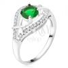 Ezüst gyűrű - zöld kerek kő, cirkóniás szárak