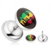 Hamis plug fülbe sebészeti acélból, Rastafarian motívum