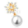 14K sárga arany medál - csillogó hópihe, gömbölyű fehér gyöngy