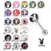 Acél nyelvpiercing - különböző Playboy motívuok