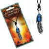 Madzagos nyaklánc indián tollal és kék gyöngyökkel