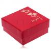 Fényes piros színű ajándékdoboz, arany színű rózsa, for you felirat