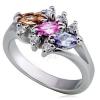 Fényes fém gyűrű - három színes, búzaszem cirkónia, pici, tiszta kövecskékkel