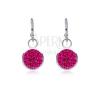 925 ezüst fülbevaló - függő foglalat mély rózsaszín cirkóniákkal, 7 mm fülbevaló