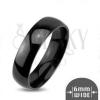 Fényes fém gyűrű - sima, domború karika, fekete szín