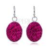 Nagy, függő fülbevaló - sötét rózsaszín cirkóniák, ovális forma