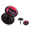 Fekete fake plug fülbe PVD bevonattal - acél, macska piros szemekkel