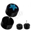 Fekete hamis piercing a fülbe akrilból - kék csillaggal