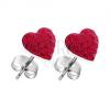 Fülbevaló 925 ezüstből - piros cirkónia szív, bedugós
