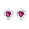 Fülbevaló 925 ezüstből, piros szív cirkónia, átlátszó kövek