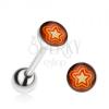 Piercing nyelvbe acélból, narancs-sárga csillag
