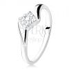 925 ezüst eljegyzési gyűrű, cirkóniákból álló négyzet a szárak között