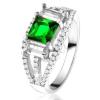 Gyűrű 925 ezüstből, négyzetes, zöld cirkónia, átlátszó téglalap alakú kövek