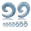 Átlátszó expander fülbe - spirál kék csillogókkal