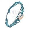 Zsinóros karkötő, fonott részek kék színben, kagyló