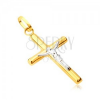 Medál 14K aranyból - fényes latin kereszt, keresztrefeszített Krisztus fehér aranyból