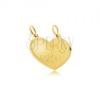 Kettősmedál 14K sárga aranyból - szabályos szív, puzzle, Amor