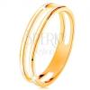 Gyűrű 585 sárga aranyból, két vékony karika fehér fénymázzal díszítve