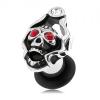Plug 316L acélból, koponya koronával, piros és átlátszó cirkóniák