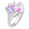 Fényes gyűrű, kettévált és hullámos szárak, színes és átlátszó kövek