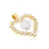 Medál 9K sárga aranyból, cirkóniás szívkörvonal, könnycseppes gyöngy a közepében