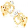 Fülbevaló 9K sárga aranyból - két vékony szív alakú kontúr, átlátszó cirkónia