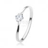 Gyűrű 925 ezüstből, csillogó kerek cirónia foglalatban