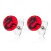 Piros bedugós fülbevaló sebészeti acélból, kínai sárkány fekete színben