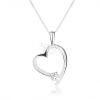 Nyakék 925 ezüstből, aszimmetrikus szívkörvonal, kerek átlátszó cirkónia