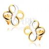 Kétszínű fülbevaló 9K aranyból - két INFINITY szimbólum, ródiumozott