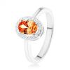 925 ezüst gyűrű, narancs színű ovális cirkónia, átlátszó csillogó keret